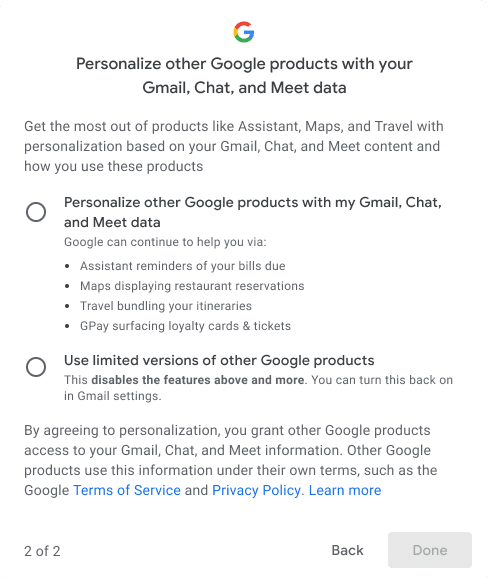Google allows users to turn off tracking in Gmail, Chat and Meet